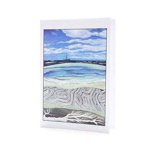 coral reef shore diving tropical pacific island tonga sail boat sailing cruising blue art greeting card hannah dorman