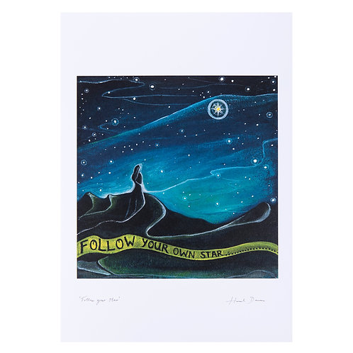 follow your own star personal journey night sky star universe positive quote  art print hannah dorman