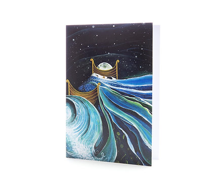 bedtime dreams boat I dream of sea magical story book art greeting card hannah dorman artists