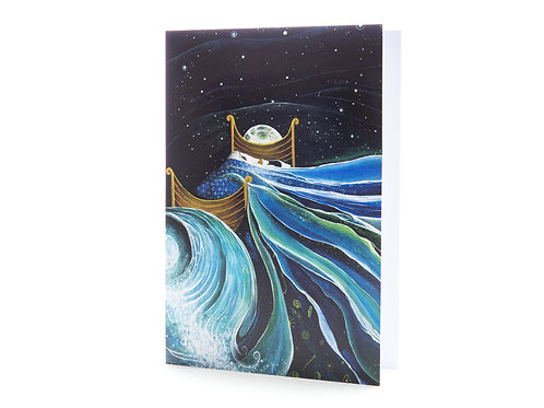 bedtime dreams boat I dream of sea magical story book art greeting card hannah dorman artists