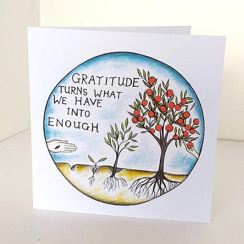 Gratitude greeting card art online UK cards
