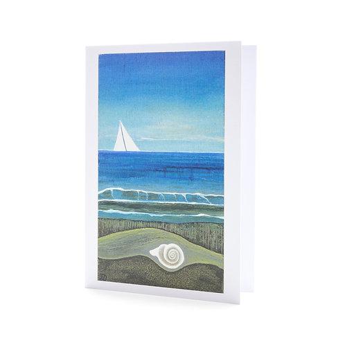 sailing by sail boat sailor gift shell beach shore waves ocean sea art greeting card hannah dorman