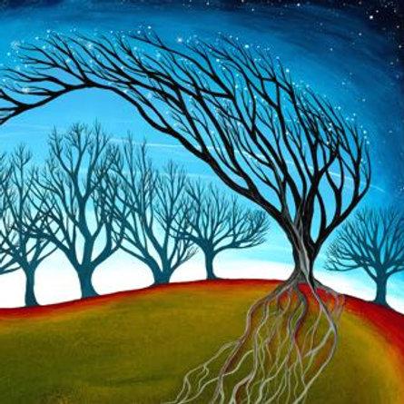 leaning windswept tree woods trees art painting cushion