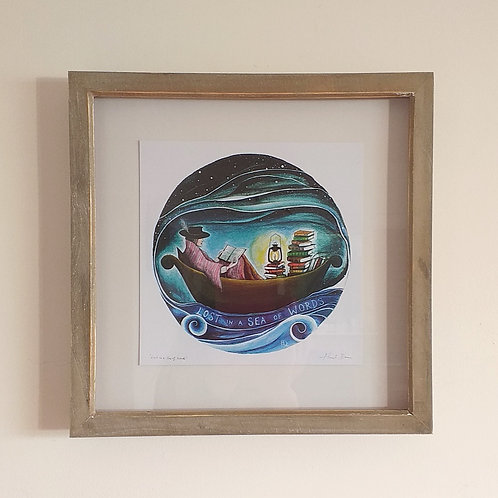 Lost in a Sea of Words ~ Framed print