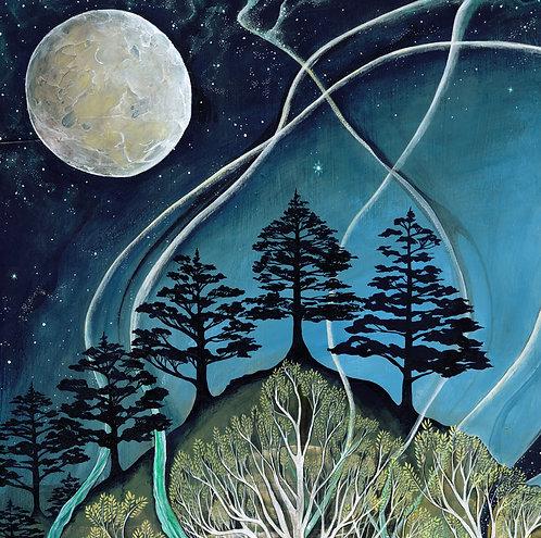 tree moon stars art cushion