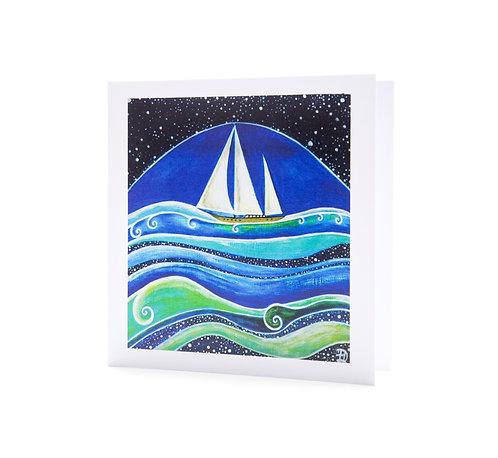 star sailing sail boat sailor gifts stars ocean waves sea art greeting card hannah dorman