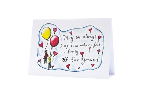 Anniversary wedding valentines day art greeting card keep your feet off the ground hannah dorman artist