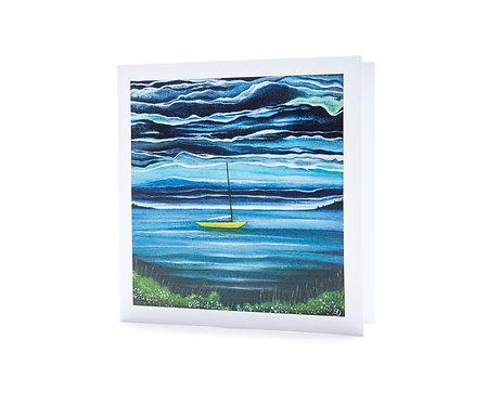 yellow sail boat northern ireland strangford lough painting art greeting card sailor gifts hannah dorman