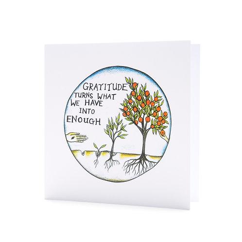 gratitude turns what we have into enough thankful coronavirus positive quote art greeting card hannah dorman
