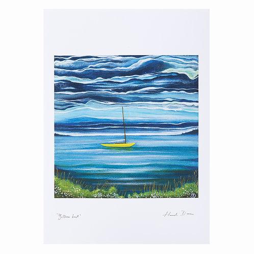 yellow sail boat northern ireland strangford lough painting art print sailor gifts hannah dorman