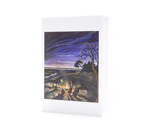 embers campfire beach fire gathering camping night beach stars universe tribe music art greeting cards hannah dorman