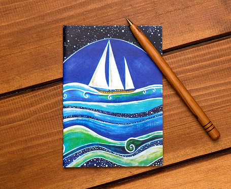 star sailing sail boat ocean blue notebook