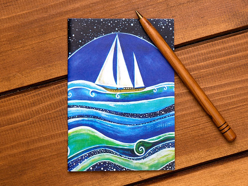 star sailing sail boat ocean blue notebook