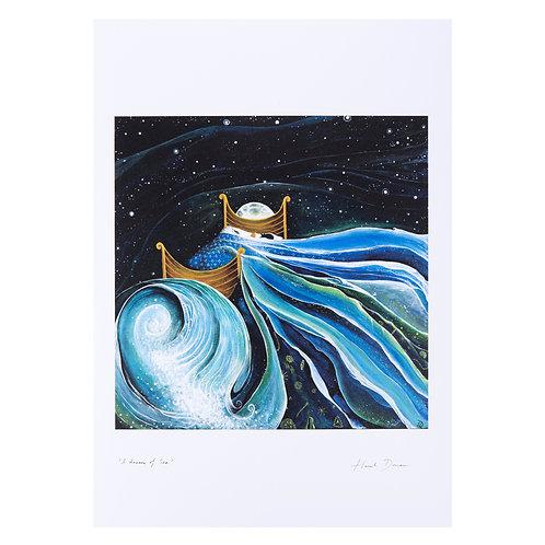 i dream of sea boat sea magical story book illustrated painting art sea ocean waves hannah dorman