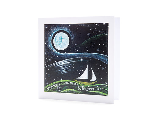 horizon moon over water ocean sea night stars universe inspirational quote art greeting card hannah dorman