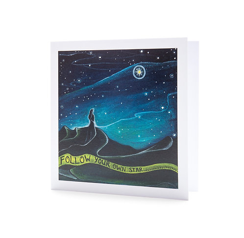 follow your own star personal journey night sky star universe positive quote art greeting card hannah dorman