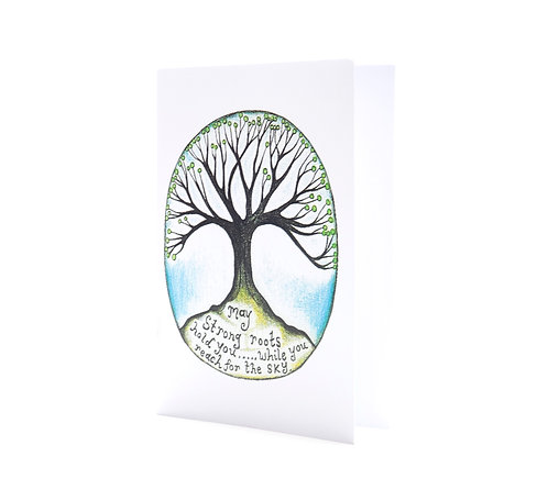 may strong roots hold you while you reach for the sky tree inspirational positive grounding art greeting card hannah dorman