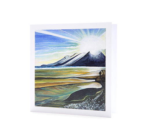 murlough beach northern ireland sunset sunrise beach walk art greeting card hannah dorman
