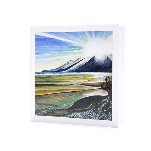 murlough beach northern ireland sunset sunrise beach walk art greeting card hannah dorman