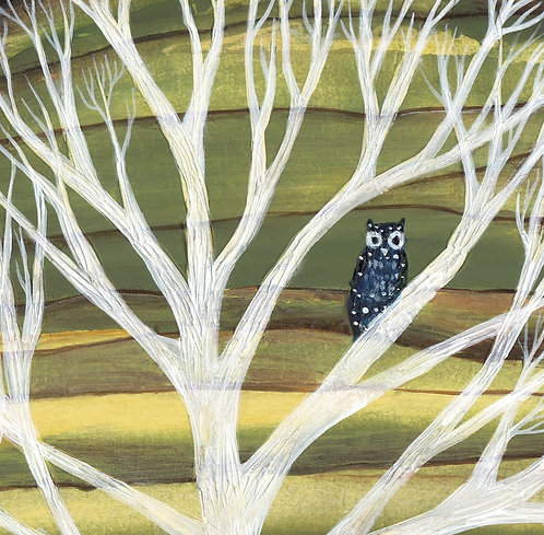 night owl  white tree bird branch wild nature art cushion boho interiors
