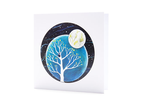 born wild rewilding rewild nature moon stars spiritual boho mindfulness night owl art greeting card hannah dorman
