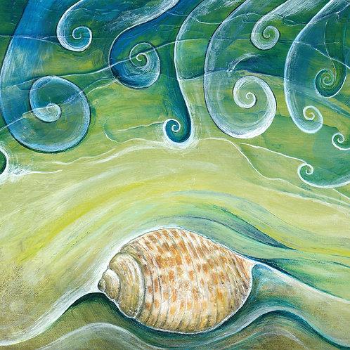 shell beach waves beach comber art 100% cotton cushion