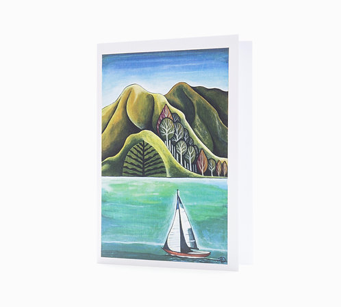 day sail sailor sailing gifts new zealand coast art greeting card sail boat hannah dorman