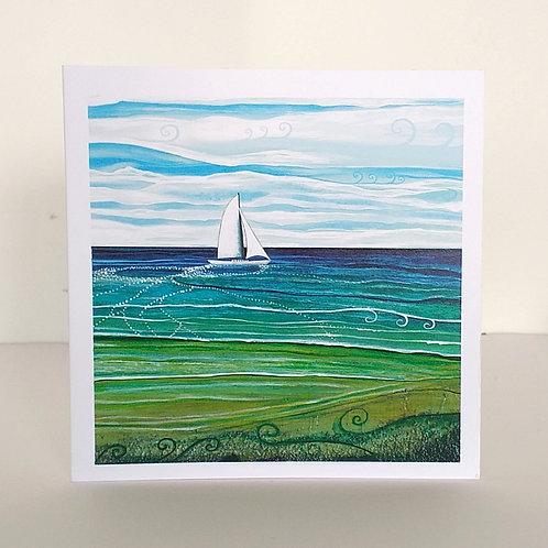 Sail boat art greeting card boat wake women who sail sailor gift yacht artist