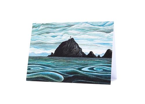 lighthouse rocks swirling sea sailing ocean lovers the brothers new zealand coast art greeting card hannah dorman