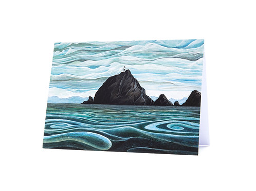 lighthouse rocks swirling sea sailing ocean lovers the brothers new zealand coast art greeting card hannah dorman