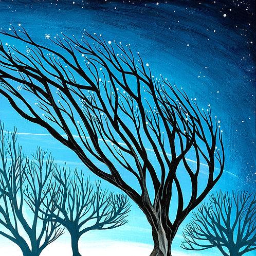 windswept leaning tree magical star art cushion hannah dorman art