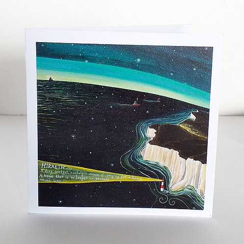 Hiraeth art card White cliffs of Dover lighthouse missing home longing far from home
