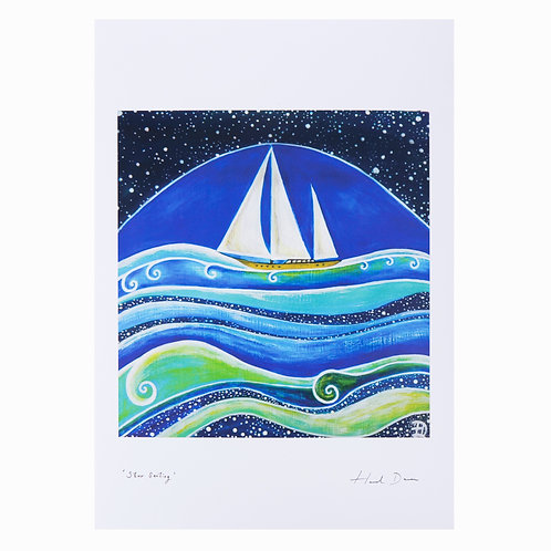 star sailing ocean passage sail boat night sail sailor gifts hannah dorman art