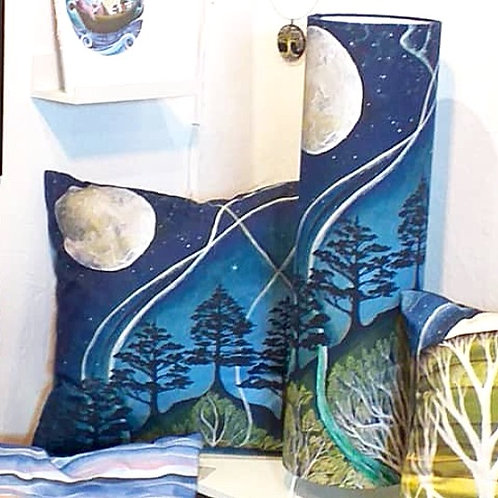wild woman boho moon and stars universe lamp and cushion