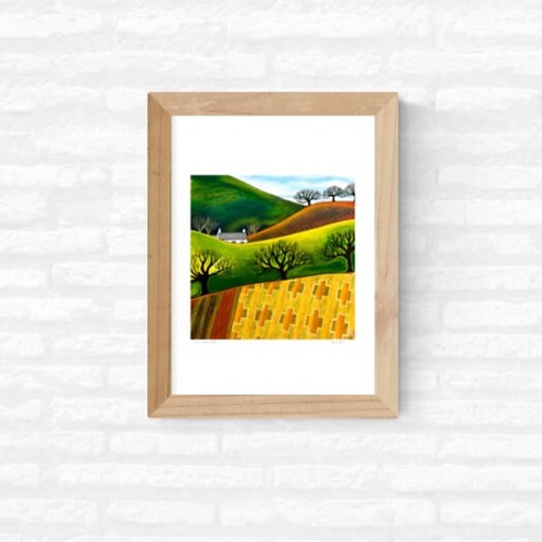 'Over Blanket Fields' ~ A4 print ~ recycled paper
