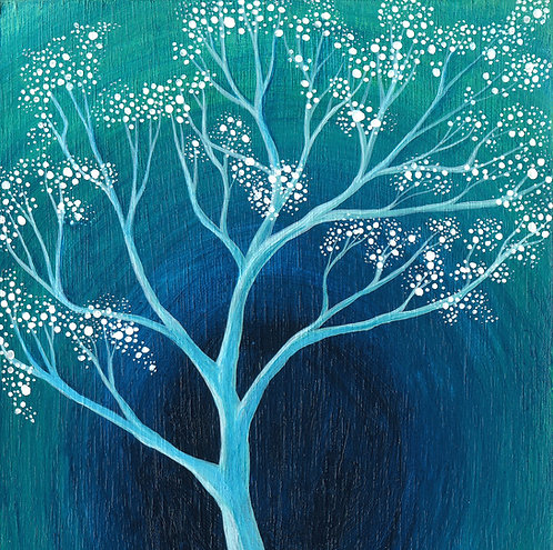 blue and white blossom magical tree cushion boho interior