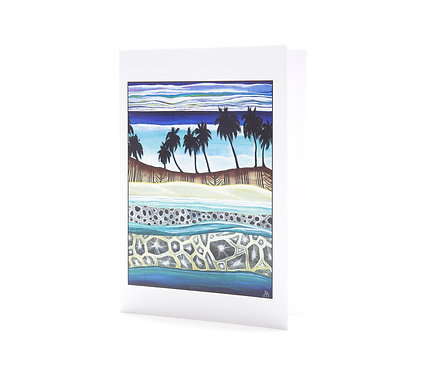 palm trees tapa cloth pacific island tonga coral reef turquoise water art greeting cards hannah dorman