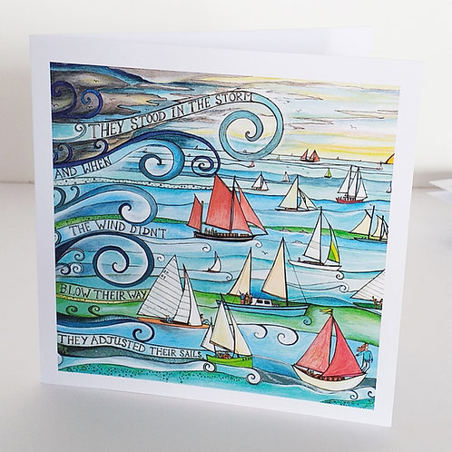 Storm 2020 lockdown art sailboats yachts classic wooden boats greeting card