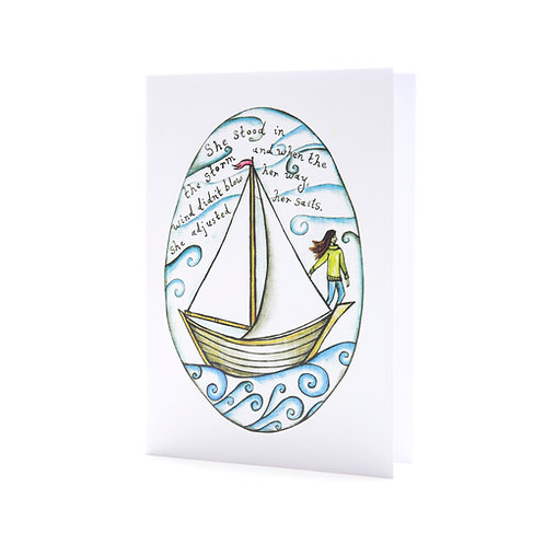 she stood in the storm women who sail overcoming new direction sail boat sailor wild woman sailing art greeting card