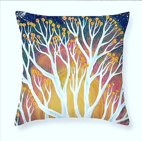 sunset tree blossom art orange and pink cushion boho interior