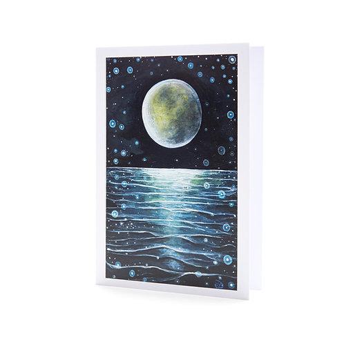 horizon moon over water ocean sea night stars universe inspirational art greeting card hannah dorman