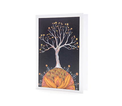 autumn magical black and white tree all a glow illustrated tree art greeting card hannah dorman