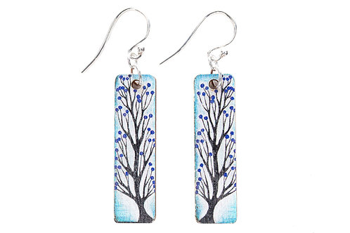tree earrings rectangle hook sterling silver tree lover nature blue and red artist designed uk