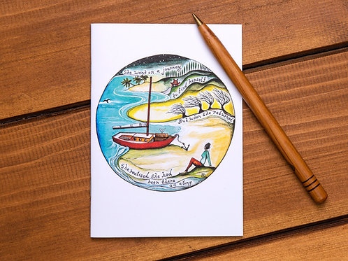 she went on a journey find yourself personal journey boat sailing adventure travel travelling art card hannah dorman
