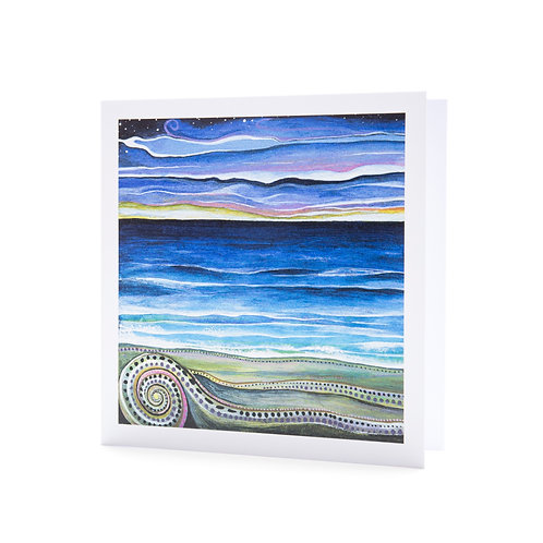 shell horizon sunset sunrise beach purple pacific island ocean tropical art greeting card hannah dorman