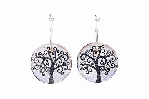 tree of life wooden earrings sustainable wood celtic ireland lightweight hoops