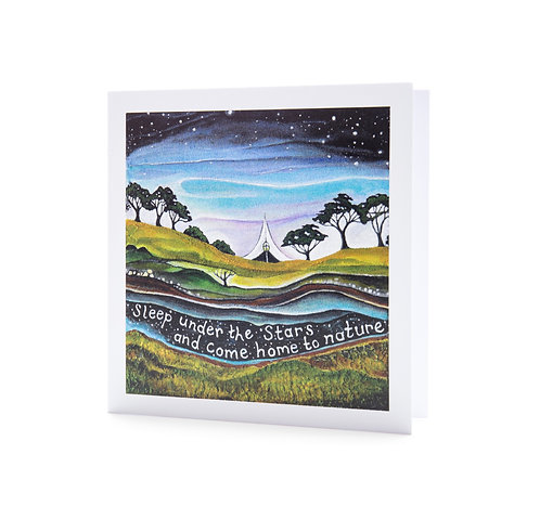 camping sleep under the stars rewilding nature tent quote art greeting card hannah dorman