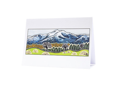 hills and trees new zealand landscape artist snow mountains winter art greeting card hannah dorman
