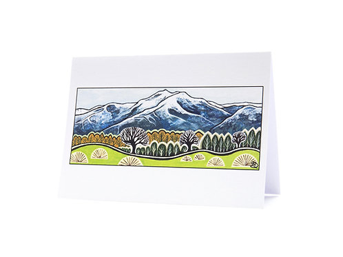 hills and trees new zealand landscape artist snow mountains winter art greeting card hannah dorman