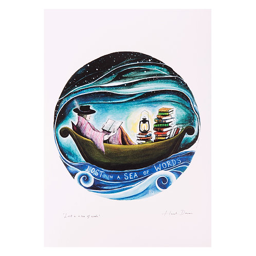 lost at sea book lover reader reading boat sailing sailor gifts art print hannah dorman art